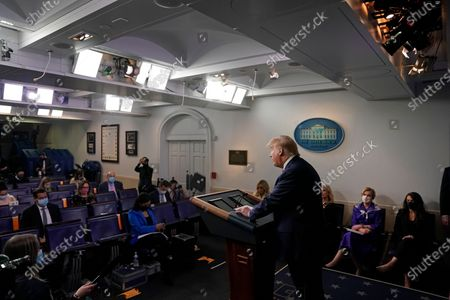 United States President Donald J. Trump speaks during a news conference in the Brady Press Briefing Room of the White House in Washington, D.C., U.S.,. Trump didn't wear a face mask during most of his tour of Ford Motor Co.'s ventilator facility Thursday, defying the automaker's policies and seeking to portray an image of normalcy even as American coronavirus deaths approach 100,000.