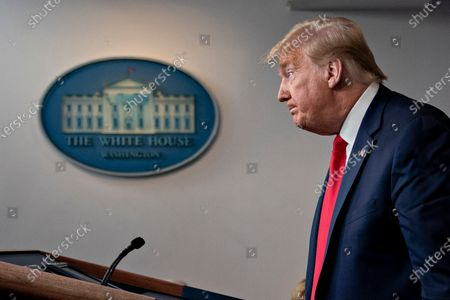 United States President Donald J. Trump pauses after speaking during a news conference in the Brady Press Briefing Room of the White House in Washington, D.C., U.S.,. Trump ordered states to allow churches to reopen from stay-at-home restrictions imposed to combat the coronavirus outbreak, saying he would override any governor who refuses.