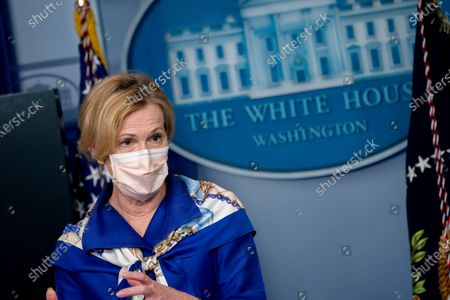Ambassador Deborah L. Birx, M.D., White House Coronavirus Response Coordinator, wears a protective mask as she speaks during a news conference in the Brady Press Briefing Room of the White House in Washington, D.C., U.S.,. United States President Donald J. Trump did not wear a face mask during most of his tour of Ford Motor Co.'s ventilator facility Thursday, defying the automaker's policies and seeking to portray an image of normalcy even as American coronavirus deaths approach 100,000.