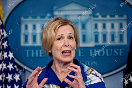 Stock Image of Ambassador Deborah L. Birx, M.D., White House Coronavirus Response Coordinator, speaks during a news conference in the Brady Press Briefing Room of the White House in Washington, D.C., U.S.,. United States President Donald J. Trump did not wear a face mask during most of his tour of Ford Motor Co.'s ventilator facility Thursday, defying the automaker's policies and seeking to portray an image of normalcy even as American coronavirus deaths approach 100,000.