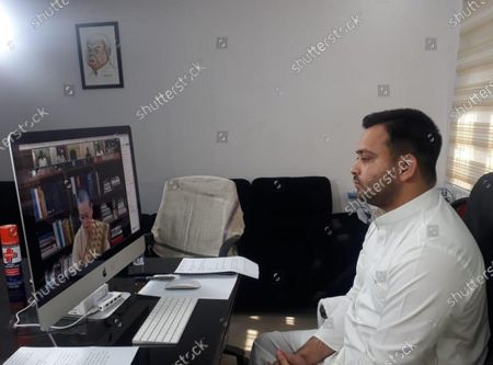 RJD leader Tejashwi Yadav takes part in an all opposition parties' video conference meet called by Congress leader Sonia Gandhi, on May 22, 2020 in Patna, India.