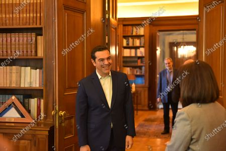 President of Hellenic Republic Katerina Sakellaropoulou (right)  and President of Syriza party and opposition leader Alexis Tsipras (left) during their meeting  at the Presidential Mansion.
