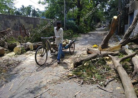 Man pushes his cart past branches of a tree fallen on a road after Cyclone Amphan hit the region in Kolkata, India, Saturday, 23, 2020. In India's West Bengal state, which bore the brunt of the storm that caused extensive flooding in its capital Kolkata, police and disaster response teams removed fallen trees and other debris, repaired communication lines and began moving hundreds of thousands of people out of shelters