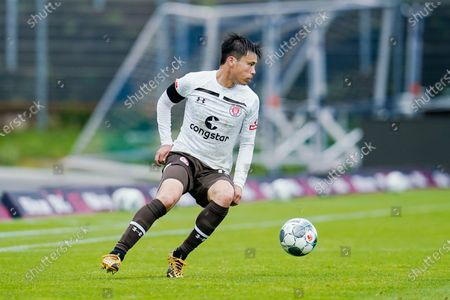 St. Paulis Ryo Miyaichi in action during the German 2nd Bundesliga match between SV Darmstadt 98 vs FC St. Pauli in Darmstadt, Germany, 23 May 2020.