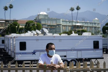 Triple Crown-winning jockey Victor Espinoza talks about living in so-called restricted zone, housing 24 jockeys, valets and other personnel who must test negative for COVID-19 to gain access at Santa Anita Park in Arcadia, Calif. Horse racing returned to the track after being idled for one and a half months because of public health officials' concerns about the coronavirus pandemic