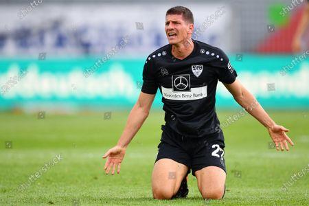 Mario Gomez of Stuttgart reacts during the Second Bundesliga match between Holstein Kiel and VfB Stuttgart at Holstein-Stadion in Kiel, Germany, 24 May 2020.