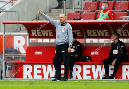 Stock Photo of Fortuna Dusseldorf coach Uwe Rosler reacts during the German Bundesliga soccer match between FC Cologne and Fortuna Dusseldorf in Cologne, Germany, 24 May 2020, as play resumes behind closed doors following the outbreak of the coronavirus disease (COVID-19).