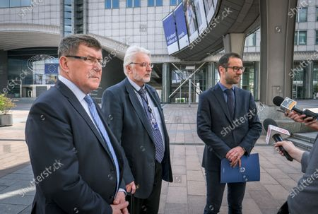 Polish members of the European Parliament from the Law and Justice (PiS) Party (L-R) Zbigniew Kuzmiuk, Witold Waszczykowski, former Poland Foreign minister and Tomasz Poreba give a press briefing ahead to a debate on determination of a clear risk of a serious breach by the Republic of Poland of the rule of law at European parliament committee on civil liberties, justice and home affairs in Brussels, Belgium 25 May 2020. Today Debate mark also the fourth anniversary of first claim at EU Parliament on rule of Law in Poland.