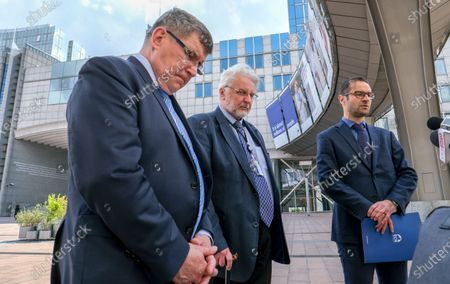 Stock Image of Polish members of the European Parliament from the Law and Justice (PiS) Party (L-R) Zbigniew Kuzmiuk, Witold Waszczykowski, former Poland Foreign minister and Tomasz Poreba give a press briefing ahead to a debate on determination of a clear risk of a serious breach by the Republic of Poland of the rule of law at European parliament committee on civil liberties, justice and home affairs in Brussels, Belgium 25 May 2020. Today Debate mark also the fourth anniversary of first claim at EU Parliament on rule of Law in Poland.