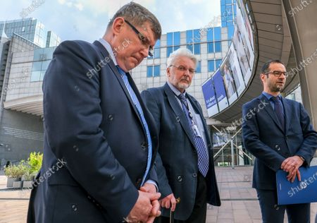 Stock Photo of Polish members of the European Parliament from the Law and Justice (PiS) Party (L-R) Zbigniew Kuzmiuk, Witold Waszczykowski, former Poland Foreign minister and Tomasz Poreba give a press briefing ahead to a debate on determination of a clear risk of a serious breach by the Republic of Poland of the rule of law at European parliament committee on civil liberties, justice and home affairs in Brussels, Belgium 25 May 2020. Today Debate mark also the fourth anniversary of first claim at EU Parliament on rule of Law in Poland.