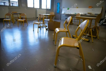 A classroom is set up following the social distancing protocol at the Angela Davis kindergarten and elementary school in Montreuil, France, 25 May 2020. France began an easing of lockdown measures on 11 May amid the ongoing coronavirus COVID-19 pandemic. The gradual return of schoolchildren has presented school establishments with new challenges to implement safe social distancing measures.