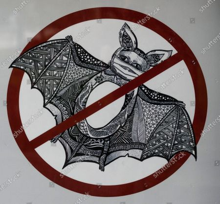 A poster warns people that consuming bats is illegal, in Guangzhou, Guangdong province, China, 25 May 2020. China's Centre for Disease Control and Prevention confirmed a possible link to the SARS-CoV-2 coronavirus found in fruit bats. The respiratory virus was first detected in Wuhan, China, and can be passed between humans.
