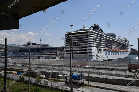 The MSC Fantasia cruise ship is moored at the port of Genoa, Italy, 25 May 2020. Italy, like several other countries around the world, is gradually easing COVID-19 lockdown restrictions in an effort to restart its economy and help people in their daily routines after the outbreak of coronavirus pandemic.