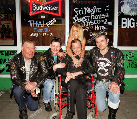 Fifties Rock & Roller Heinz Burt Now Confined To A Wheelchair With Motor Neurone Disease At A Benefit Given In His Honour At The Lord Nelson Pub In Holloway North London. (l-r) Bob Gibbons Johny Marmara Kim Roberts And William Musyk Alias Rocker Bill.
