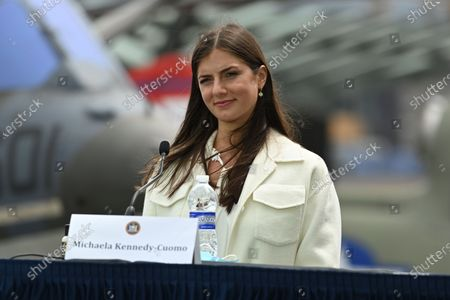 Michaela Kennedy-Cuomo attends a press briefing about the COVID-19 response on the flight deck of the Intrepid Sea, Air and Space Museum