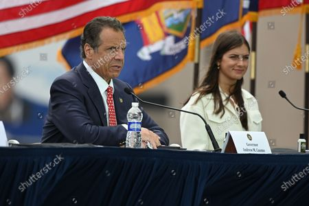 Governor Andrew Cuomo and Michaela Kennedy-Cuomo hold a press briefing about the COVID-19 response on the flight deck of the Intrepid Sea, Air and Space Museum