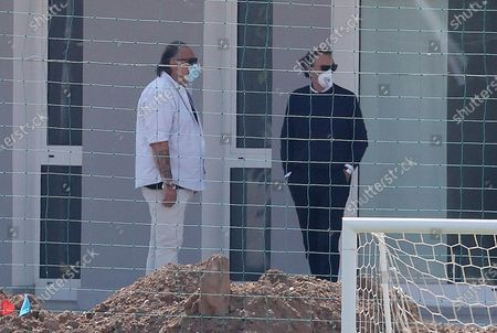 Massimo Cellino (R), Brescia Calcio's president, during the team group training session, the first one after the end of lockdown due to the Coronavirus emergency, Torbole, Italy, 25 may 2020.