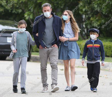 Stock Photo of Ben Affleck, Violet Affleck, Seraphina Affleck and Samuel Affleck