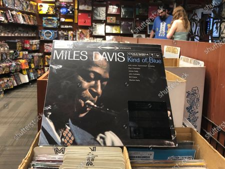 """The """"Kind of Blue"""" album cover is on display at Bull Moose record store in Portland, Maine, on the 60th anniversary of the album's release. Drummer Jimmy Cobb, the last surviving musician who performed on Miles Davis' jazz masterpiece """"Kind of Blue,"""" died, at his Manhattan home from lung cancer. He was 91"""
