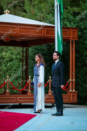 Queen Rania  and His Royal Highness Crown Prince Al Hussein during this year's celebration of the 74th Anniversary of Jordan's Independence Day