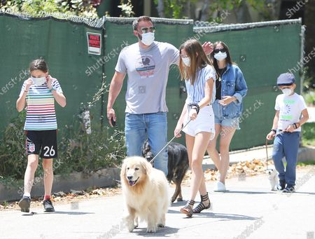 Stock Picture of Ben Affleck, Ana de Armas, Violet Affleck, Seraphina Affleck and Samuel Affleck go for a stroll during the Coronavirus outbreak