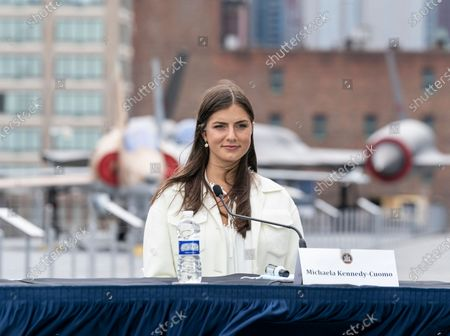 Michaela Kennedy-Cuomo attends Governor Cuomo Announcement and Briefing on COVID-19 Response on Intrepid Sea, Air and Space Museum on Memorial Day