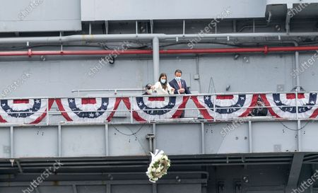 Michaela Kennedy-Cuomo and Andrew Cuomo laid ceremonial wreath during COVID-19 pandemic on Intrepid Sea, Air and Space Museum on Memorial Day