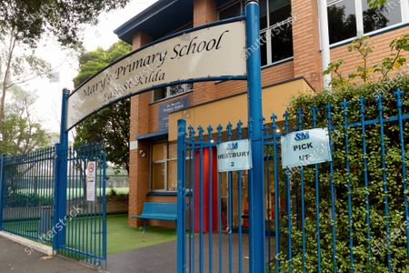 Stock Image of St. Mary's Primary School is seen with their gates open as students in Victoria return to regular lessons today, after weeks of remote learning from home as COVID-19 restrictions ease across Australia.