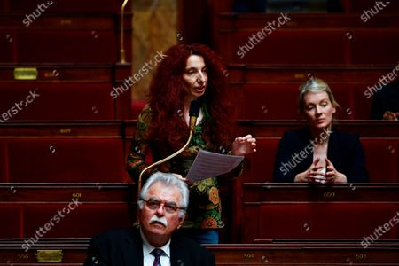 French member of parliament of the leftist La France Insoumise (LFI) Benedicte Taurine speaks during a session of questions to the Government at the French National Assembly in Paris, as France eases lockdown measures taken to curb the spread of the COVID-19 pandemic, caused by the novel coronavirus