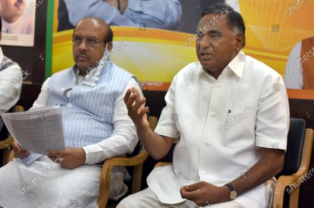 Bharatiya Janata Party MLA from Badarpur and Leader of Opposition in Delhi Legislative Assembly Ramveer Singh Bidhuri (R) and MLA from Rohini constituency Vijender Gupta address a press conference at Delhi BJP Office on Pandit Pant Marg, on May 25, 2020 in New Delhi, India.