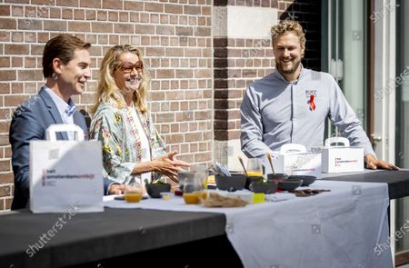 Dutch Princess Mabel (C), Brandon O'Dell (L), director of Amsterdam Dinner, and chef Joris Bijdendijk (R) attend the kick-off of the Amsterdam Breakfast at the restaurant RIJKS in Amsterdam, The Netherlands, May 26, 2020. The event aims to draw attention to continue the fight against HIV and AIDS also during the the ongoing pandemic of the COVID-19 disease caused by the SARS-CoV-2 coronavirus.