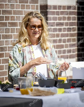 Stock Image of Dutch Princess Mabel attends the kick-off of the Amsterdam Breakfast at the restaurant RIJKS in Amsterdam, The Netherlands, May 26, 2020. The event aims to draw attention to continue the fight against HIV and AIDS also during the the ongoing pandemic of the COVID-19 disease caused by the SARS-CoV-2 coronavirus.