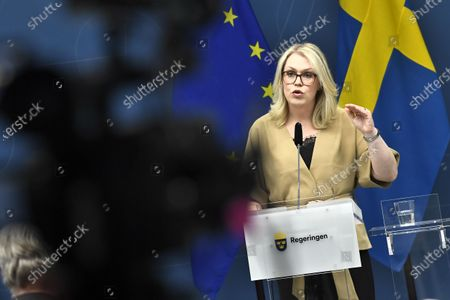 Swedish Minister for Health and Social Affairs  Lena Hallengren holds a news conference about restrictions for vulnerable 70+ citizens in Sweden, in Stockholm, Sweden, 26 May 2020.