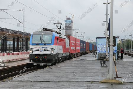 A China-Europe freight train carrying hundreds of tons of medical equipment from China arrives in Belgrade, Serbia on May 26, 2020. The train left Wuhan, capital of central China's Hubei Province, on May 9, loaded with 294.42 tons of anti-epidemic supplies.