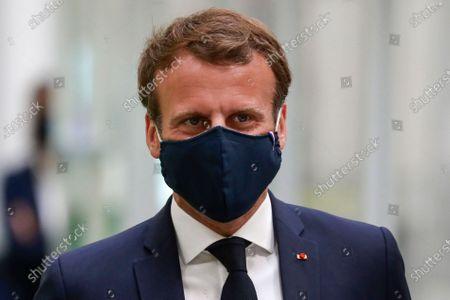 Emmanuel Macron visits automotive manufacturer Valeo, Etaples