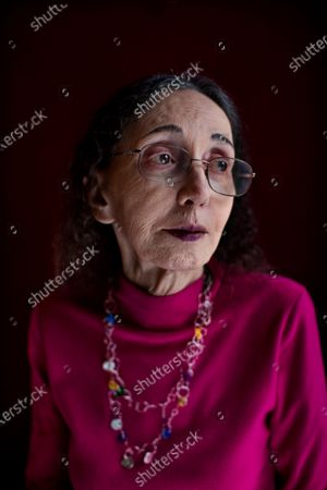 Stock Picture of Portrait of American author Joyce Carol Oates at home