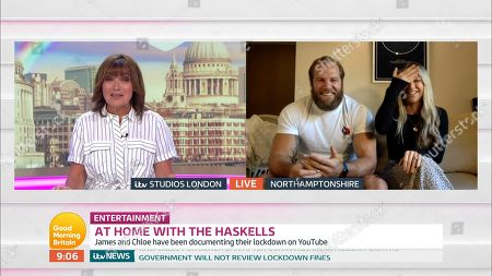 Lorraine Kelly, James Haskell and Chloe Madeley
