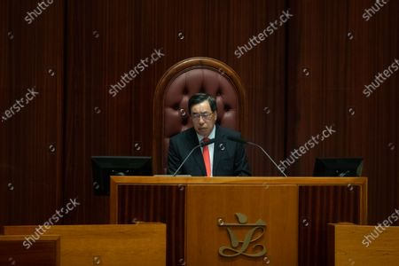The president of the Legislative Council Andrew Leung chairs the chamber's second reading of the National Anthem Bill in Hong Kong, China, 27 May 2020. Under the bill, anyone convicted of misusing or insulting the 'March of the Volunteers' (the national anthem of the People's Republic of China) could face a fine of up to 50,000 Hong Kong dollars (6,449 US dollars) and three years in jail. The bill is expected to be put to a vote on 04 June.