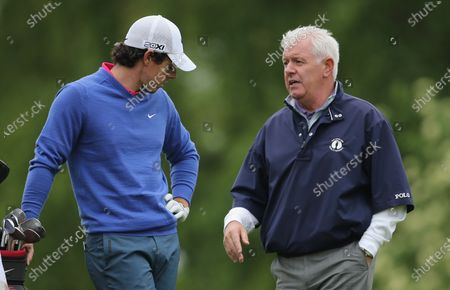 Stock Picture of BMW PGA Championships 21/5/2013. Northern Ireland's Rory McIlroy speaks to his father Gerry McIlroy