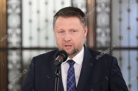 Stock Photo of Member of main opposition party Civic Platform Marcin Kierwinski attends a Civic Coalition's press conference at the Polish parliament building in Warsaw, Poland, 27 May 2020. According to press reports, Poland's presidential elections will be postponed, most likely, to the end of June 2020.