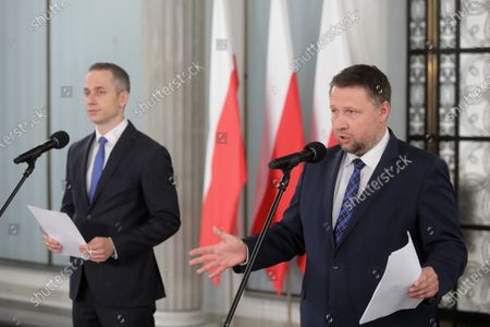 Members of main opposition party Civic Platform Cezary Tomczyk (L) and Marcin Kierwinski (R) attend a Civic Coalition's press conference at the Polish parliament building in Warsaw, Poland, 27 May 2020. According to press reports, Poland's presidential elections will be postponed, most likely, to the end of June 2020.