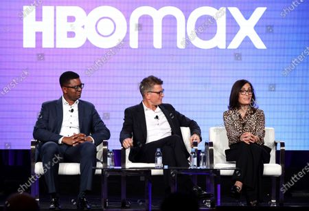 Stock Photo of Of Content Acquisitions for TNT, TBS, truTV, HBO & HBO MAX Michael Quigley, from left, Chief Content Officer, HBO MAX and President, TNT,TBS, & truTV Kevin Reilly and Head of Original Content, HBO MAX Sarah Aubrey appear at the HBO Max Executive Sessions panel during the HBO TCA 2020 Winter Press Tour at the Langham Huntington in Pasadena, Calif