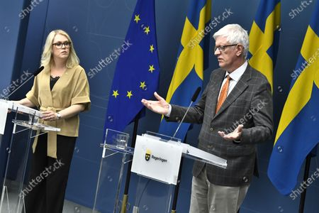 Lena Hallengren, Minister for Health and Social Affairs, and Johan Carlson, Director General for the Swedish Public Health Agency, hold a news conference, May 26, about restrictions for vulnerable 70+ citizens in Sweden