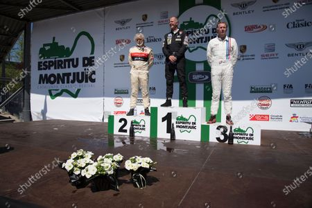 Stock Photo of 1rst place Max Smith-Hilliard driver of the Shadow DN5, 2nd place Jason Wright driver of the Shadow DN8 and the 3rd place Jamie Constable, driver of the Lola Embassy during the prize giving of the F.I.A. Masters Historic Formula One.