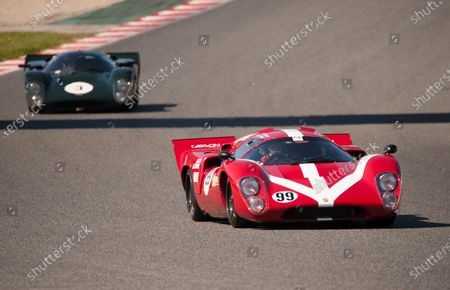 Stock Image of Paul Gibson drives his Lola T70 MK3B leads, Jason Wright drives his Lola T70 MK3B during the F.I.A. Masters Historic Sport Cars race.