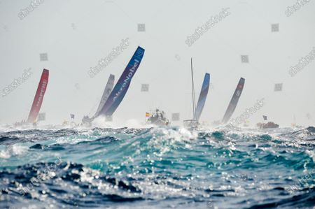 (L-R) Mapfre Team captained by Xabi Fernandez, Clean Seas turn the tide on plastic Team captained by Dee Caffari, AkzoNobel Team captained by Brad Jackson, Vestas 11th Hour Racing Team captained by Charlie Enright and Sun Hung Kai Scallywag Team captained by David Witt in action during the Start of Leg 1