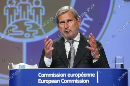European Commissioner for Budget and Administration Johannes Hahn holds a news conference on a new proposal for the EU's joint 2021-27 budget and an accompanying Recovery Instrument to kickstart economic activities in the bloc ravaged by the coronavirus disease (COVID-19) in Brussels, Belgium, 27 May 2020.