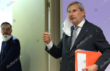European Commissioner for Budget and Administration Johannes Hahn during a news conference on a new proposal for the EU's joint 2021-27 budget and an accompanying Recovery Instrument to kickstart economic activities in the bloc ravaged by the coronavirus disease (COVID-19) in Brussels, Belgium, 27 May 2020.
