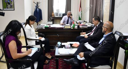 Palestinian Prime Minister Mohammad Ishtayeh, meets with Dutch Minister for Development Cooperation and Foreign Trade Sigrid Kaag, in the West Bank city of Ramallah, on May 27, 2020. Photo by Prime Minister Office