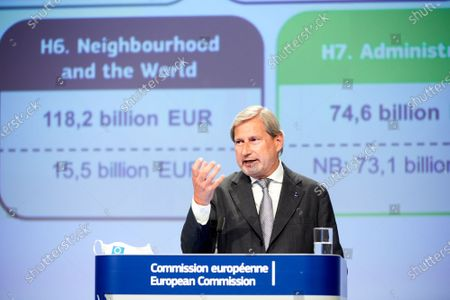 European Commissioner for Budget and Administration Johannes Hahn attends a press conference on the commission's proposal related to a recovery plan in Brussels, Belgium, May 27, 2020.   The European Commission on Wednesday proposed borrowing 750 billion euros (826 billion U.S. dollars) in its name from the financial market to help the world's largest trading bloc recover from a recession owing to the coronavirus pandemic.